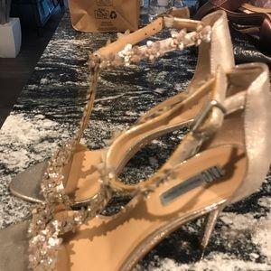 I.N.C. Gold floral t-strap Heel